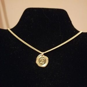 Gold Necklace with letter E charm